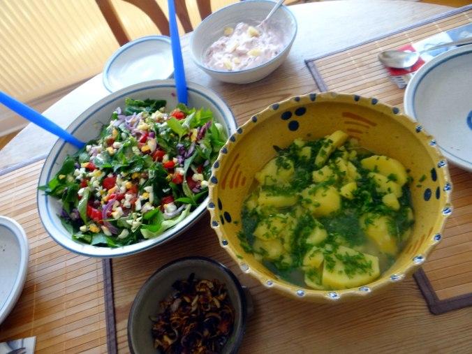 Wildkräuter Salat,Boullion Kartoffeln (4)