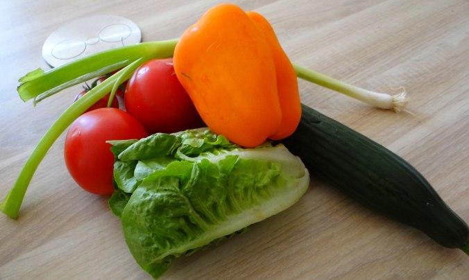 Lachsforelle,bunter Salat,Römersalat,Pellkartoffeln,pescetarisch (5)
