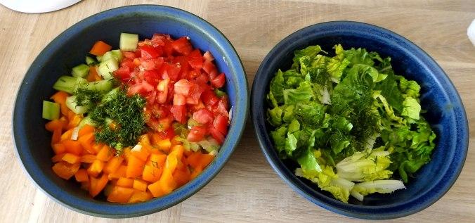 Lachsforelle,bunter Salat,Römersalat,Pellkartoffeln,pescetarisch (8)