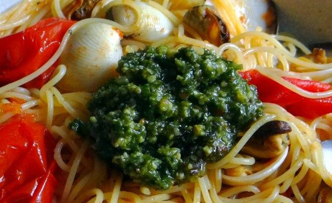 Spaghetti mit zweierlei Muscheln,Apfelkompott (16)