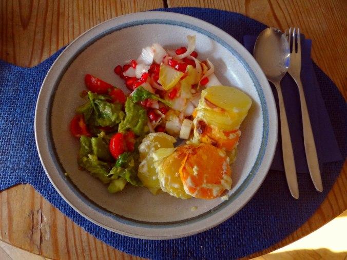 Kartoffelgratin,Avocadosalat,Chicoreesalat mit Granatapfelkernen (12)
