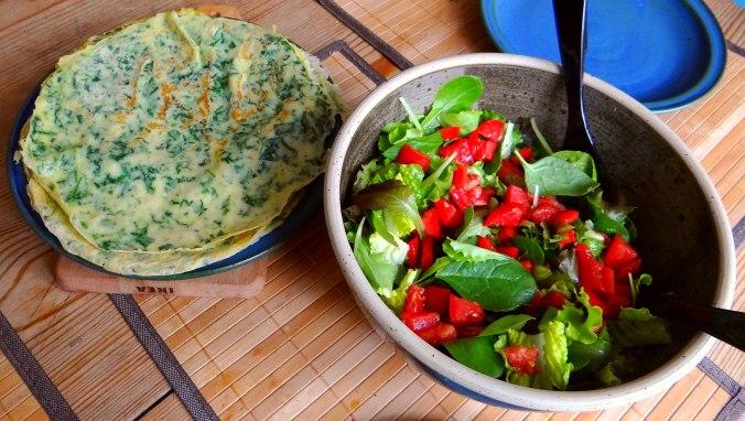 Eierpfannkuchen mit Spinat,Pflücksalat (15)