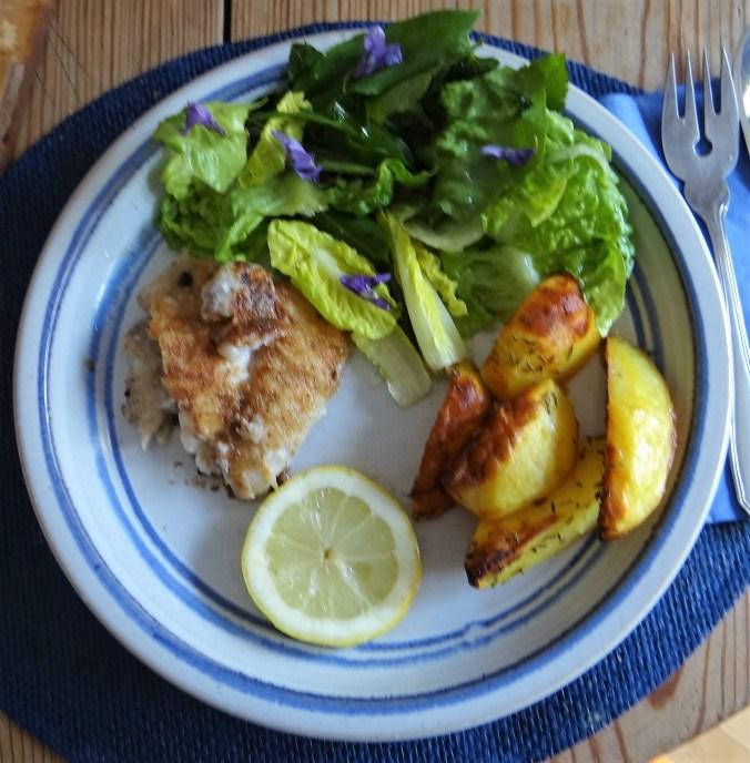 Rotbarsch,Kartoffelspalten,Salat (11)