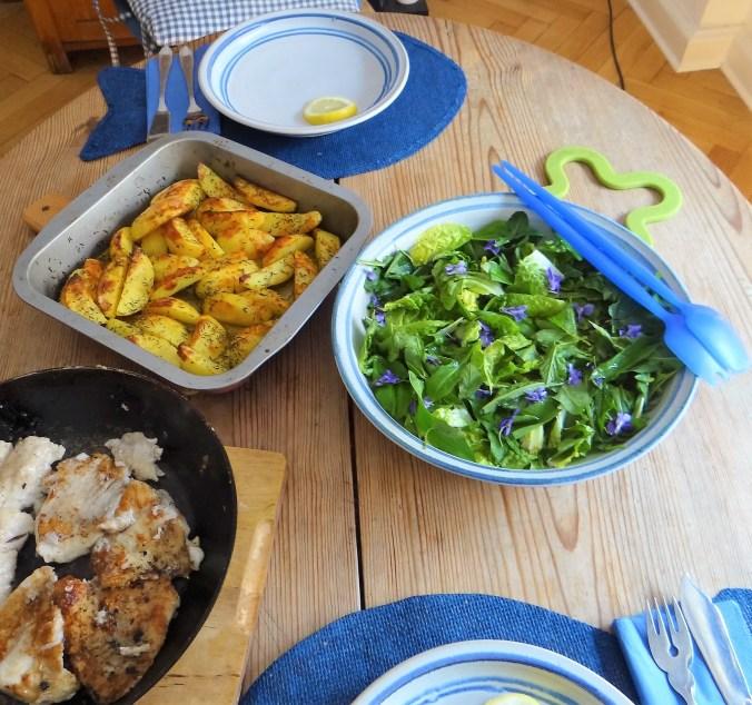 Rotbarsch,Kartoffelspalten,Salat (8)