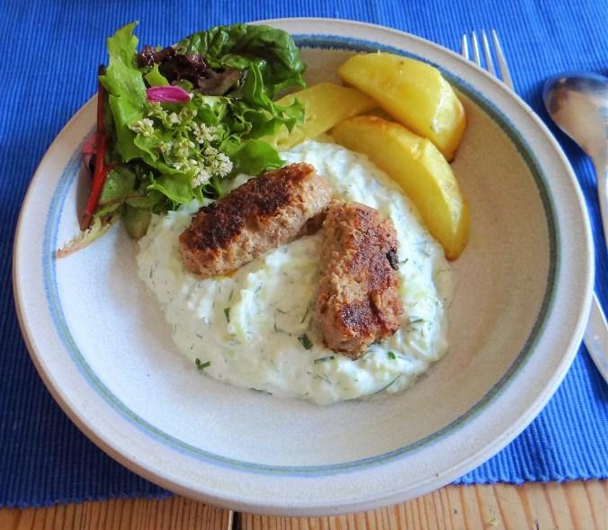 Cevapcici,Tzatziki,Kartoffelspalten,bunter Salat (15)