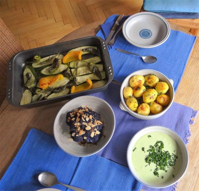 Ofengemüse,lila Blumenkohl,Dip, (2)