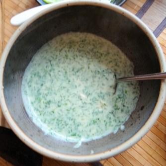 Rotbarsch mit Dillsauce,Salate, (12)