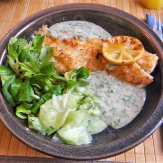 Rotbarsch mit Dillsauce,Salate, (17)