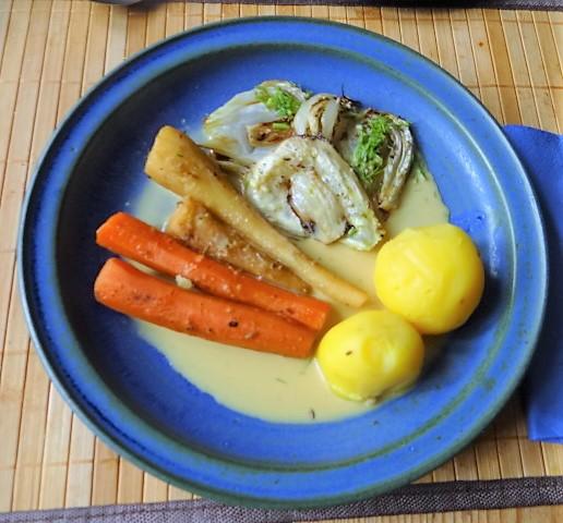Ingwer Möhre,Pastinaken,gegrillter Fenchel,Orangensauce (1)