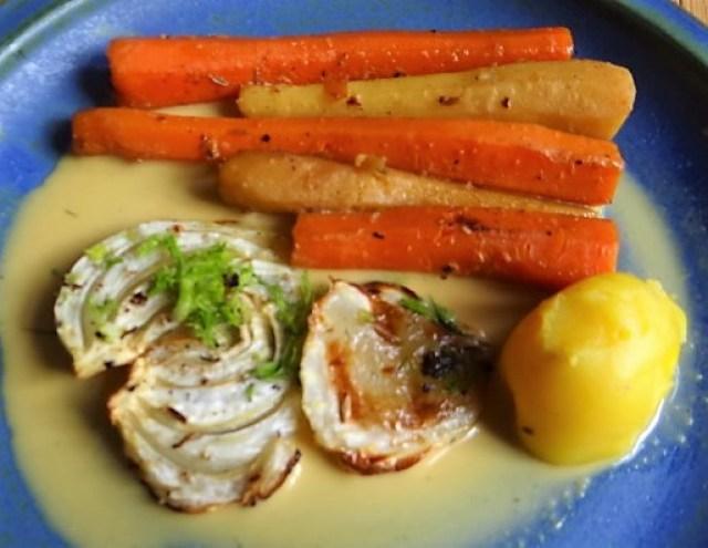 Ingwer Möhre,Pastinaken,gegrillter Fenchel,Orangensauce (3)