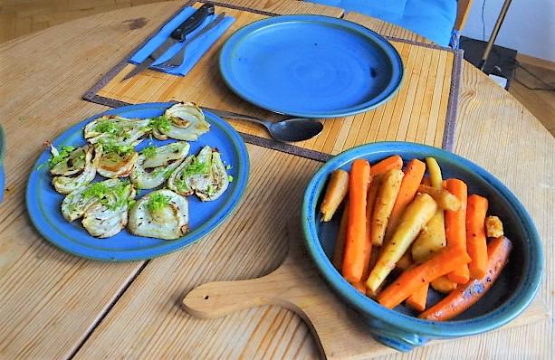 Ingwer Möhre,Pastinaken,gegrillter Fenchel,Orangensauce (4)