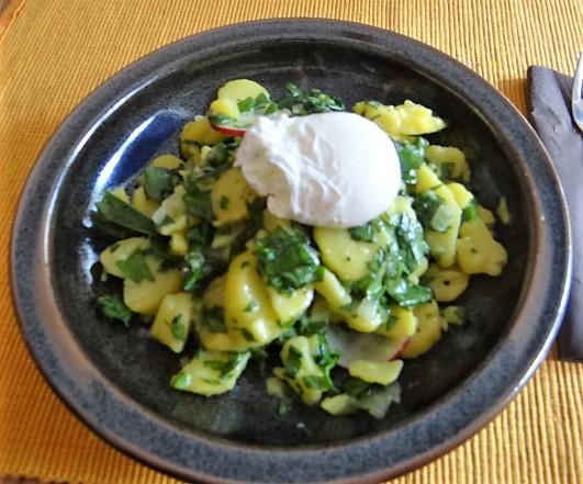 Kartoffelsalat mit Bärlauchund pochierten Eiern (2)
