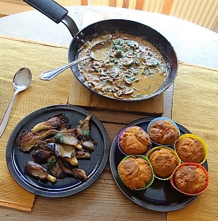 Schinkenmuffins und Pilze (4)