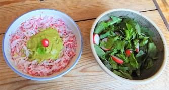 Kartoffeltaler mit Guacamole und Wildkräutersalat (22)