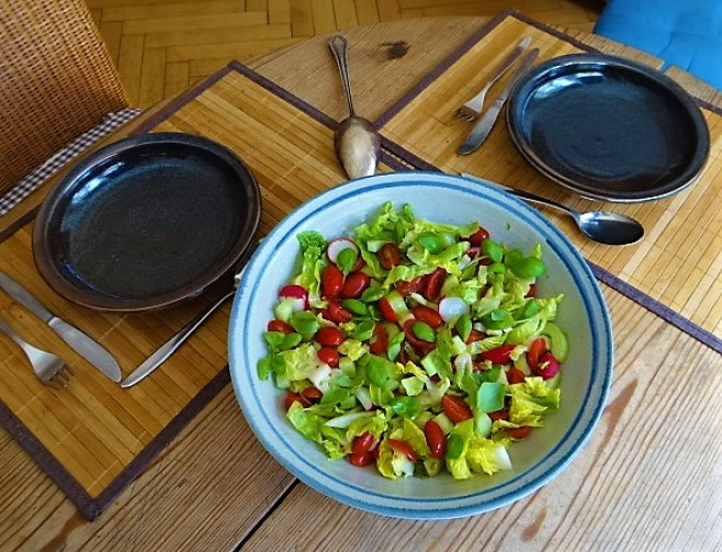 Kohlrabi Gemüse,Kartoffeln,Salat (1e)