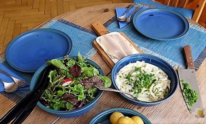 Mairübchen,geräuchertes Forellenfilet, Salat (3)