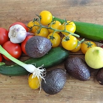 Zucchinisalat,Tomatensalat,Guacamole und Ofenkartoffeln (6)