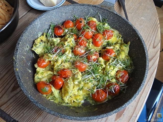 Linsennudeln, Tomaten mit Rührei (7)