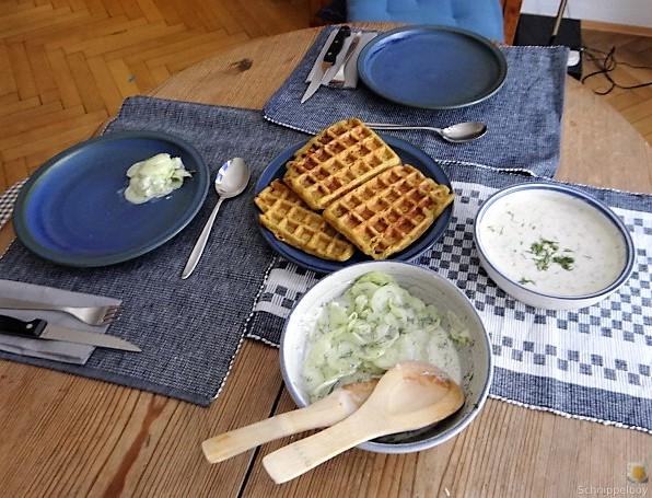 Käse_Schinkenwaffel mit Joghurt-Zitronen-Dill Dip (5)