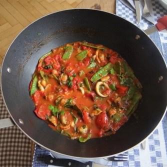Tomaten, Meeresfrüchte, Spaghetti, Trauben (13)