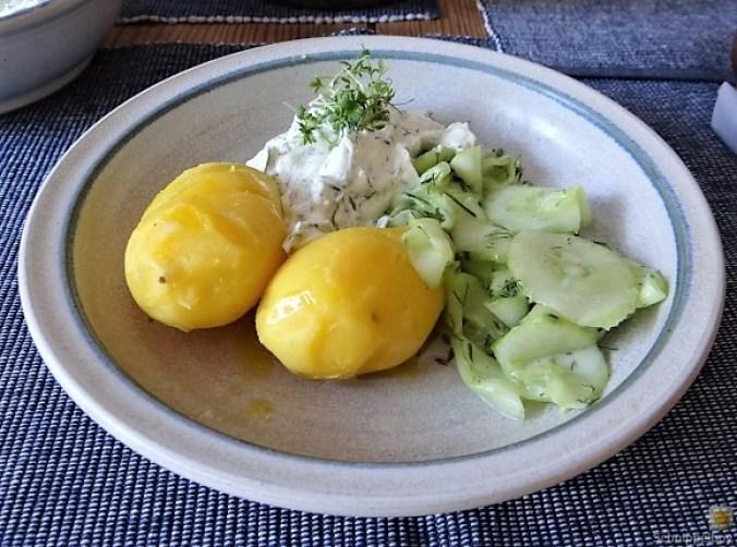 Quark,Kartoffeln, Gurkensalat (10)