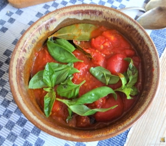 Schmorgurke, Tomatenragout, Meeresfrüchte (17)