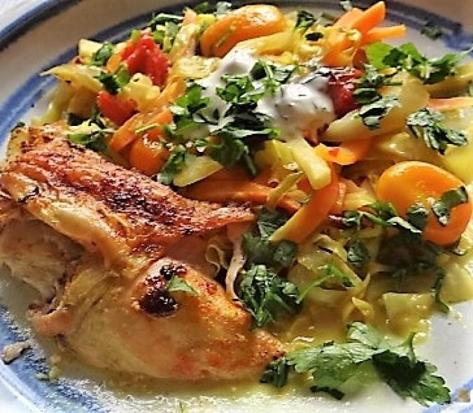 Hahnchen auf einem Gemüsebett (1)