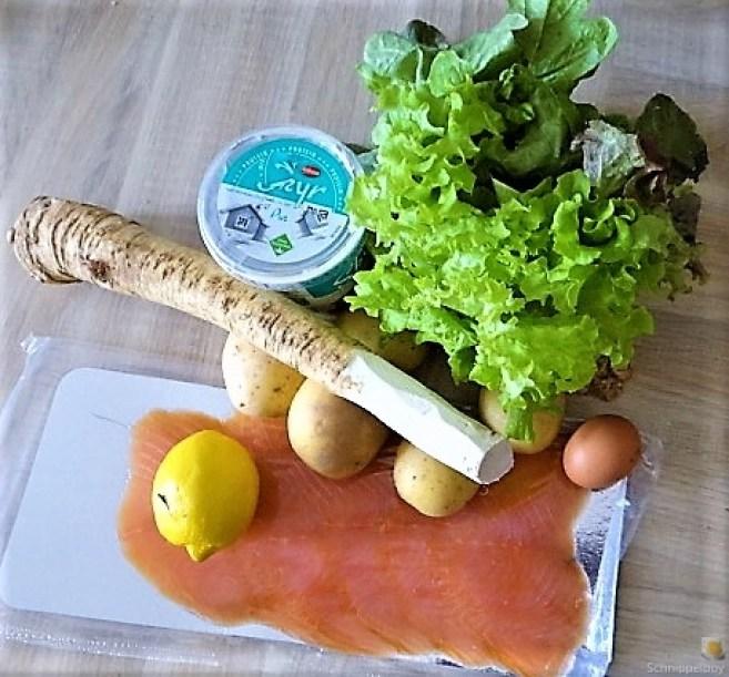 Kartoffelküchlein, Lachs, Meerrettichdip (9)
