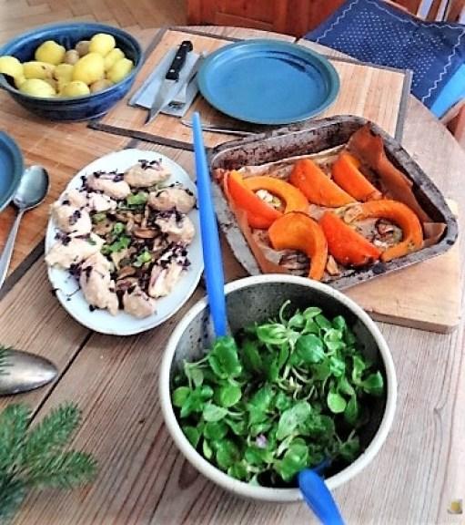 Ricottanocken,Champignon,Salat,Kürbis (15)