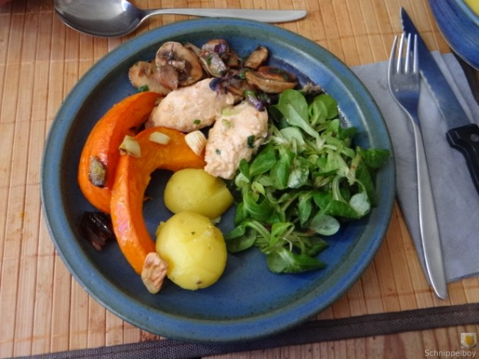 Ricottanocken,Champignon,Salat,Kürbis (16)