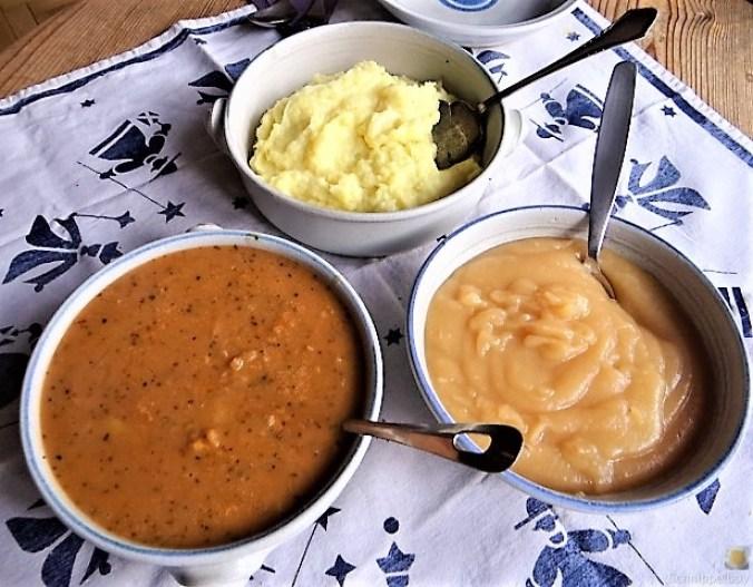 Zwiebelsauce,Kartoffelpü,Apfelmus (4)