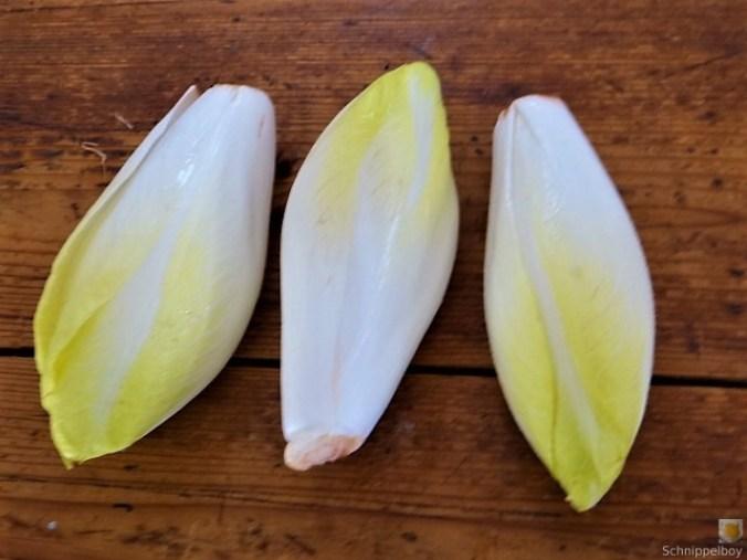 Chicoree mit Quitte und Mozarella,Quittenkompott, (7)