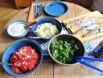 Kartoffel-Rote Bete Brei,Forelle,Makrele,Meerrettich Dip, Salate (16)