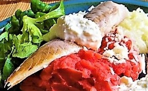Kartoffel-Rote Bete Brei,Forelle,Makrele,Meerrettich Dip, Salate (20)