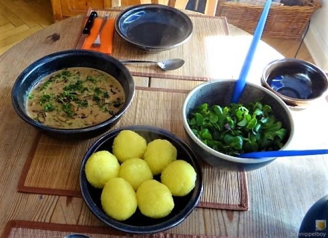 Klöße mit Pilzsauce,Obstsalat (23)