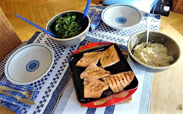 Lachsforelle,Reis und Feldsalat (12)