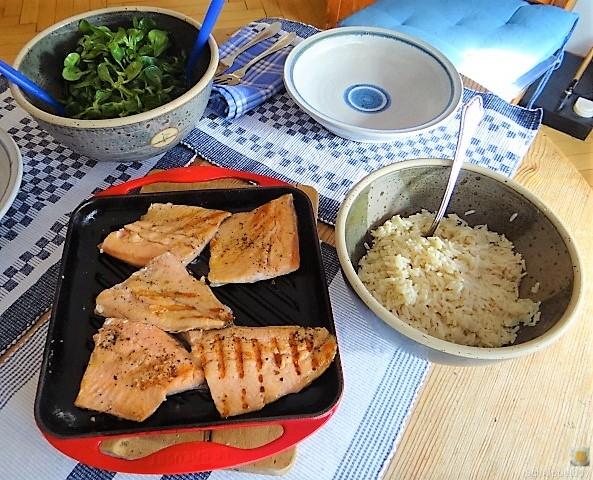 Lachsforelle,Reis und Feldsalat (5)