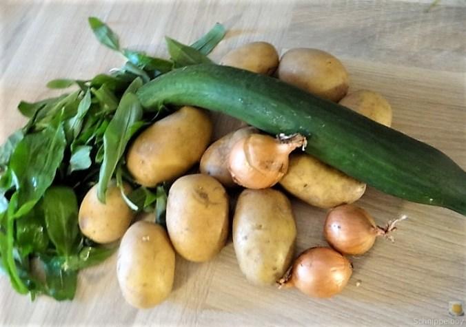 Kartoffel-Bärlauch-Gurkensalat, Kräuterseitlinge (9)