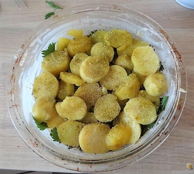 KartoffelBrennessel Gratin, Gemischter Salat (15)