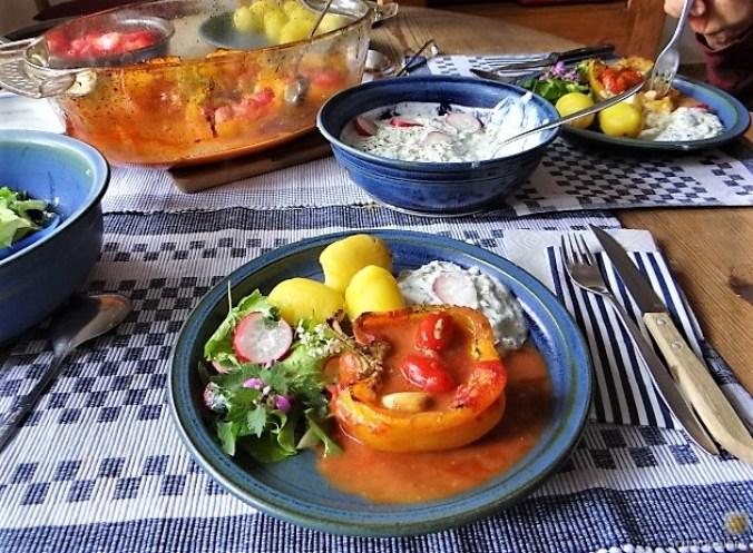Gefüllte Paprika,Tzatziki,Bunter Salat (5)