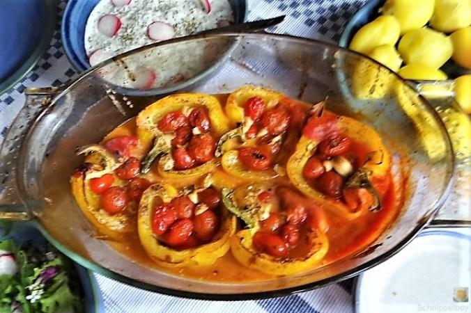 Gefüllte Paprika,Tzatziki,Bunter Salat (8)