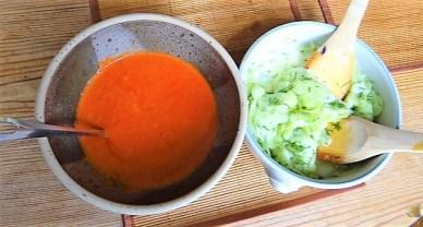 Kartoffelstampf mit Feta, Paprikasauce, Gurkensalat und ein Blattsalat (10)