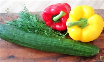 Kartoffelstampf mit Feta, Paprikasauce, Gurkensalat und ein Blattsalat (7)