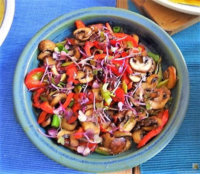Eierpfannkuchen mit Pilz-Gemüse Füllung und Pflücksalat (14)