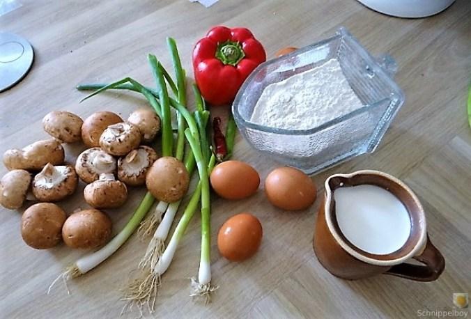 Eierpfannkuchen mit Pilz-Gemüse Füllung und Pflücksalat (6)