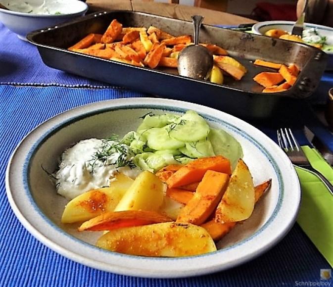 Kartoffelspalten, Meerrettichquark und Gurkensalat (5)