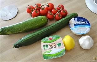 Zucchini-Tomatensalat und Tzatziki (7)