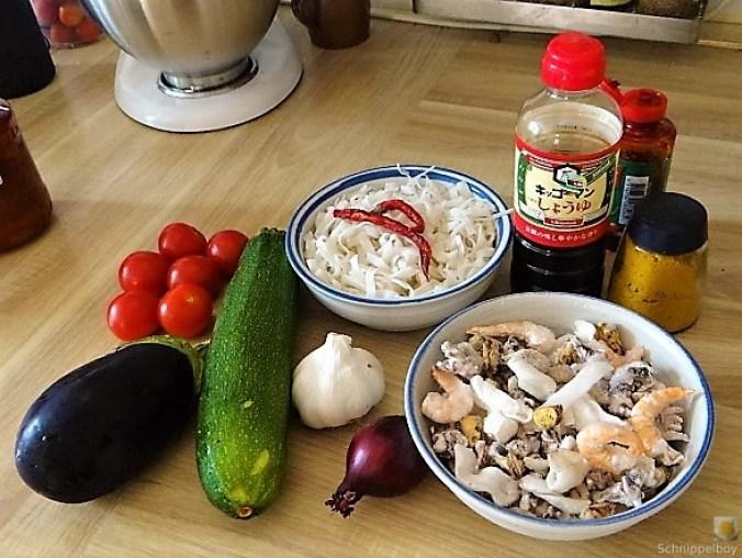 Zucchini Zoodles, Gemüse und Meeresfrüchte (7)