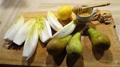Chicoree, Birne, Gorgonzola und roter Reis (10)