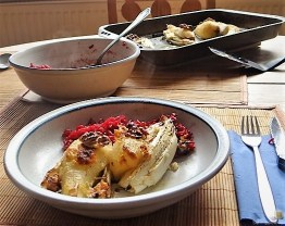 Chicoree, Birne, Gorgonzola und roter Reis (22)